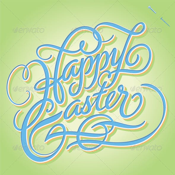 'Happy Easter' Hand Lettering (Vector)