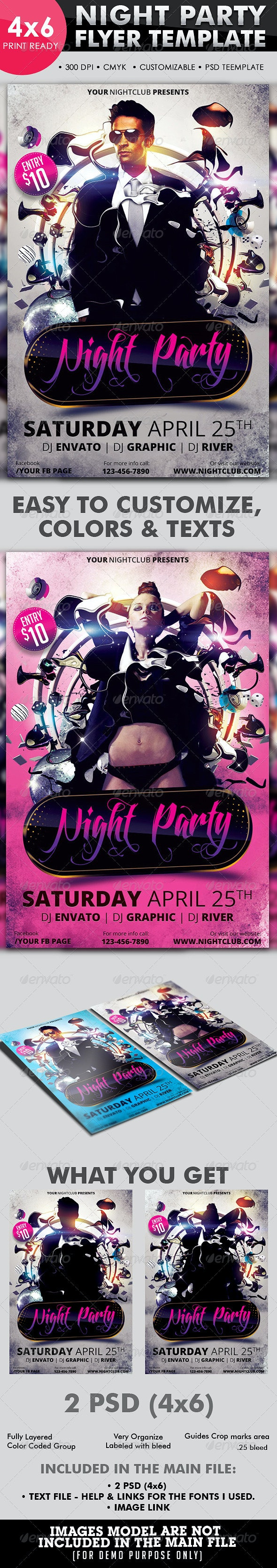 Night Party Flyer Template - Flyers Print Templates