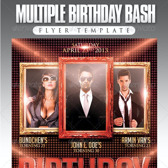 Multiple Birthday Bash Flyer Template