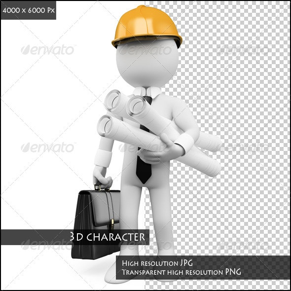 3D White People. Architect with Plans - Characters 3D Renders