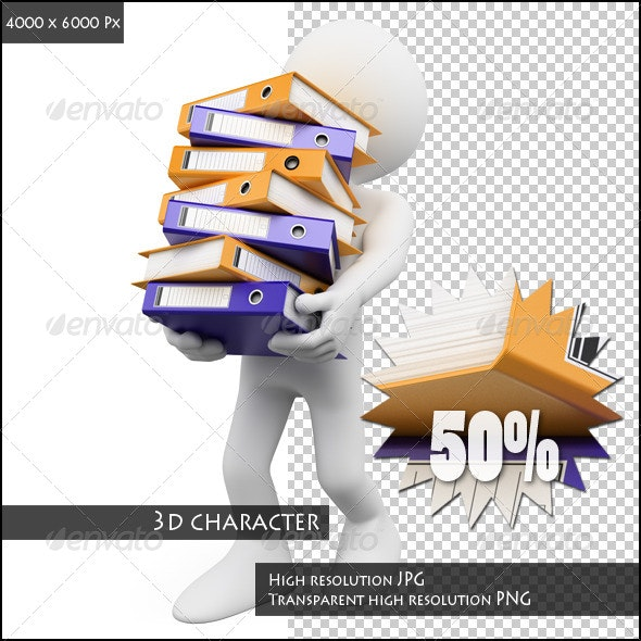 3D White People. Overwhelmed at Work - Characters 3D Renders