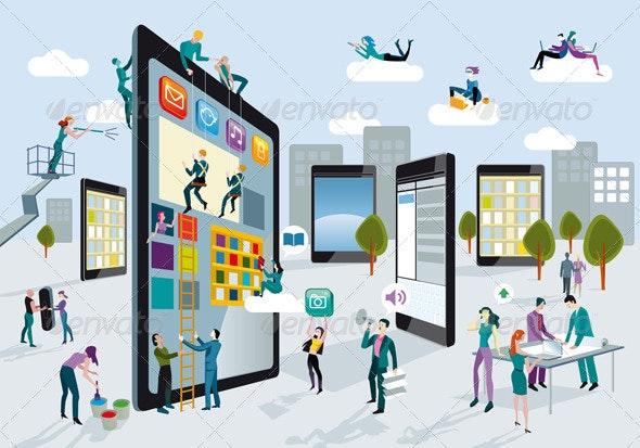 Building Digital Tablets Horizontal - Characters Vectors