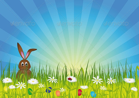 Easter Bunny on Green Meadow - Miscellaneous Seasons/Holidays