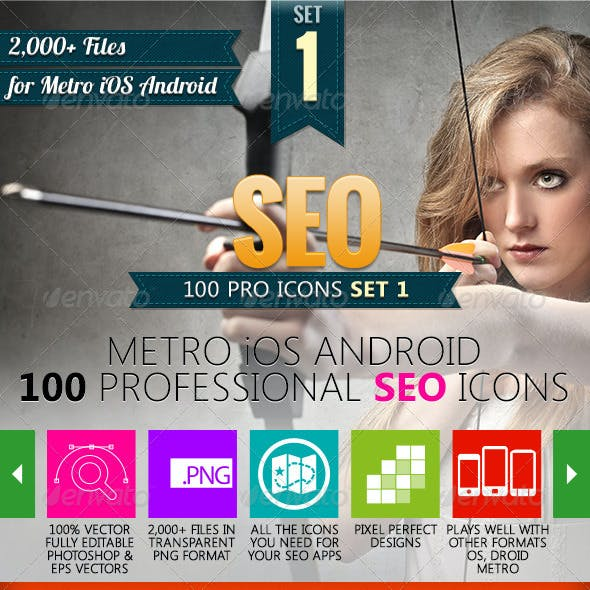 100 Metro SEO Icons with 8,000+ files Android, OS