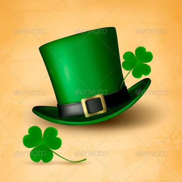 Saint Patricks Day Card with Clove Leaf and Hat