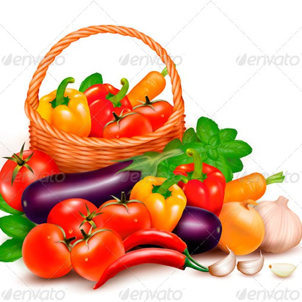 Background with Fresh Vegetables in Basket.