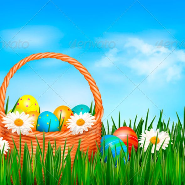 Easter Background Easter Eggs and Flowers