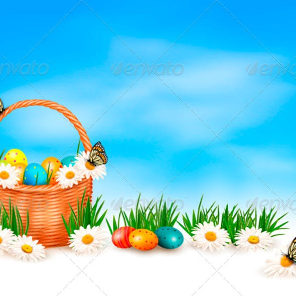 Easter Background with Easter Eggs in Basket