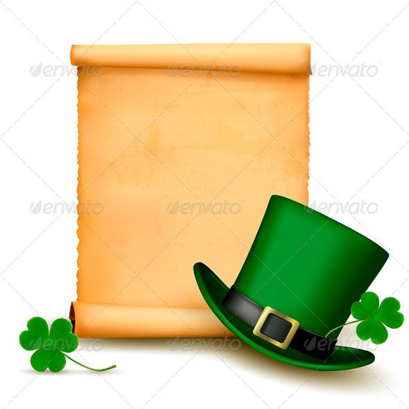 Background with St Patricks Day Hat with Clover