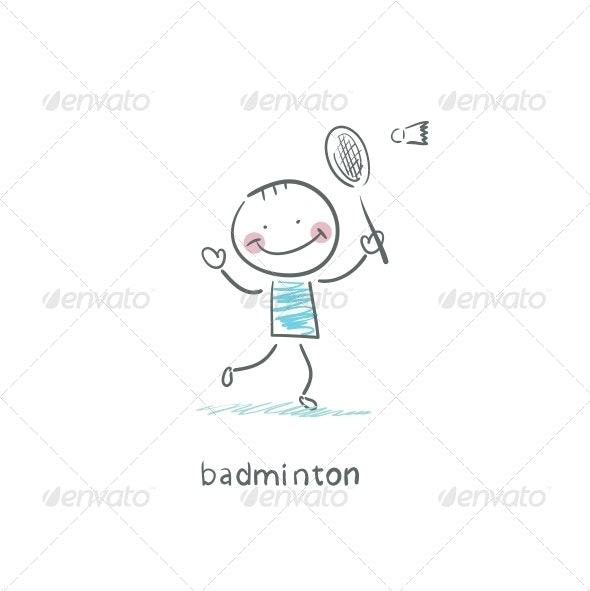 Man Playing Badminton. Illustration. - People Characters