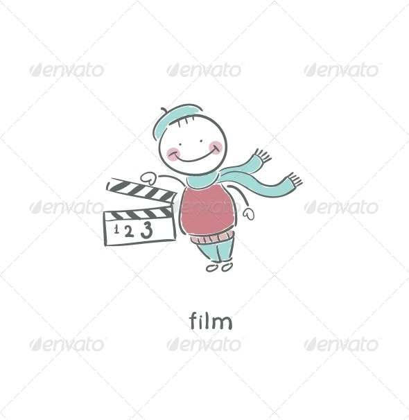 Blank Film Slate or Clapboard. - People Characters