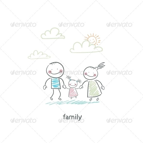 Happy Family. Illustration.