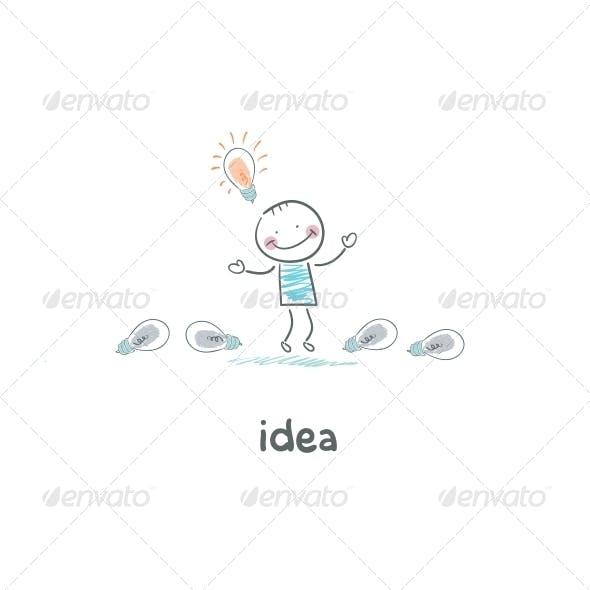 The Man Found his Idea. Concept Ideas.