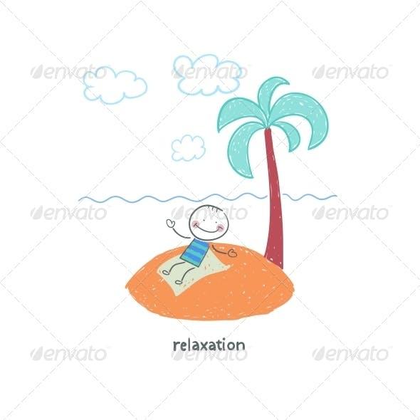Man on Vacation. Illustration.