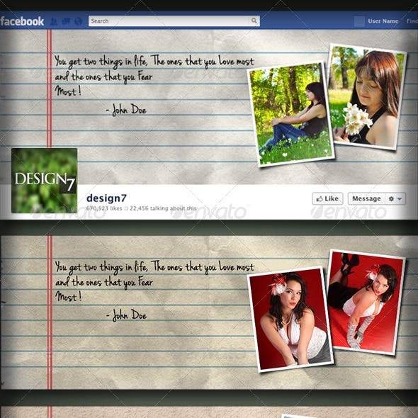 Facebook Timeline Cover Notebook Torn Paper Style
