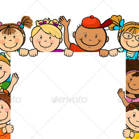 Children Together With Square Sheet