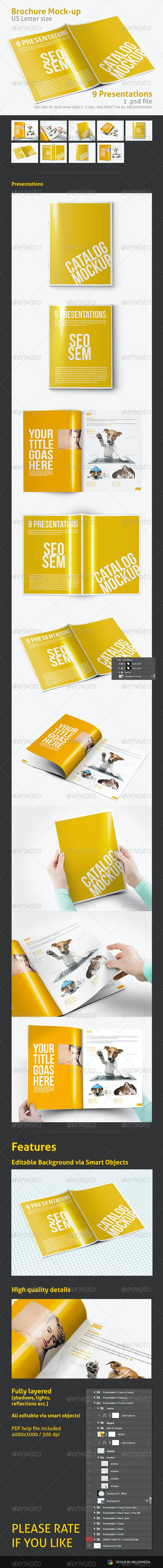 US Letter Brochure / Folder Mock-up - Print Product Mock-Ups