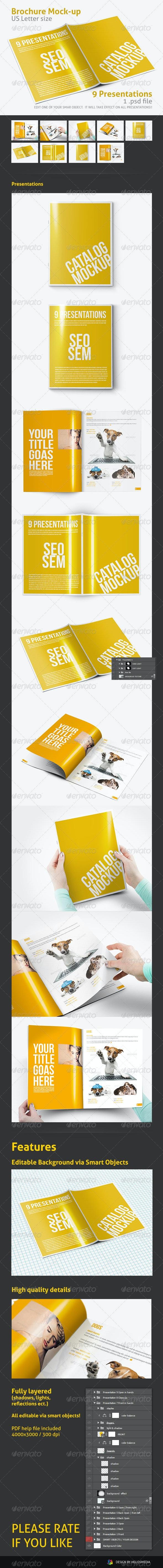 US Letter Brochure / Folder Mock-up - Print Product Mock-Ups