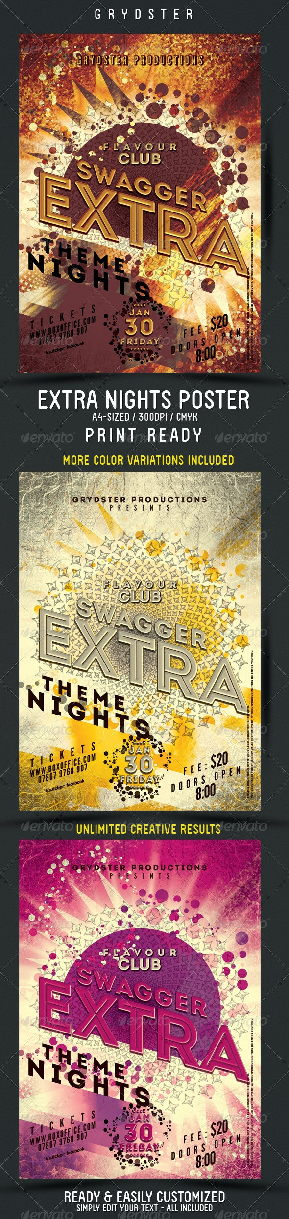Extra Theme Nights Flyer - Poster - Clubs & Parties Events