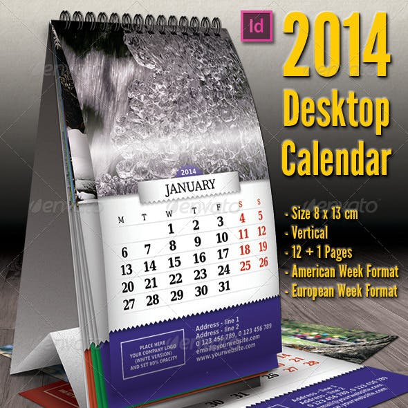 2014 - Vertical Desktop Calendar