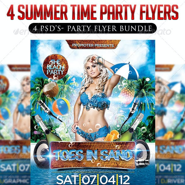 4 in 1 Summer Party Flyer Bundle