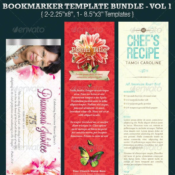 Bookmarker Template Bundle Vol 1