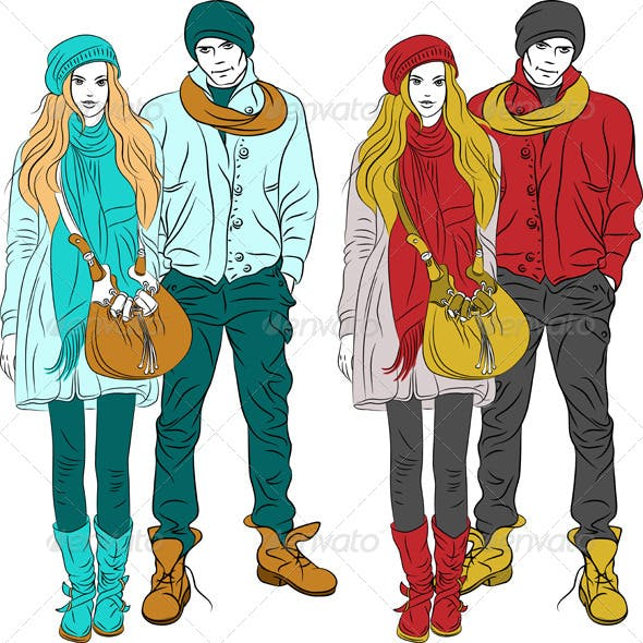 Stylish Guy and Girl in Warm Clothes
