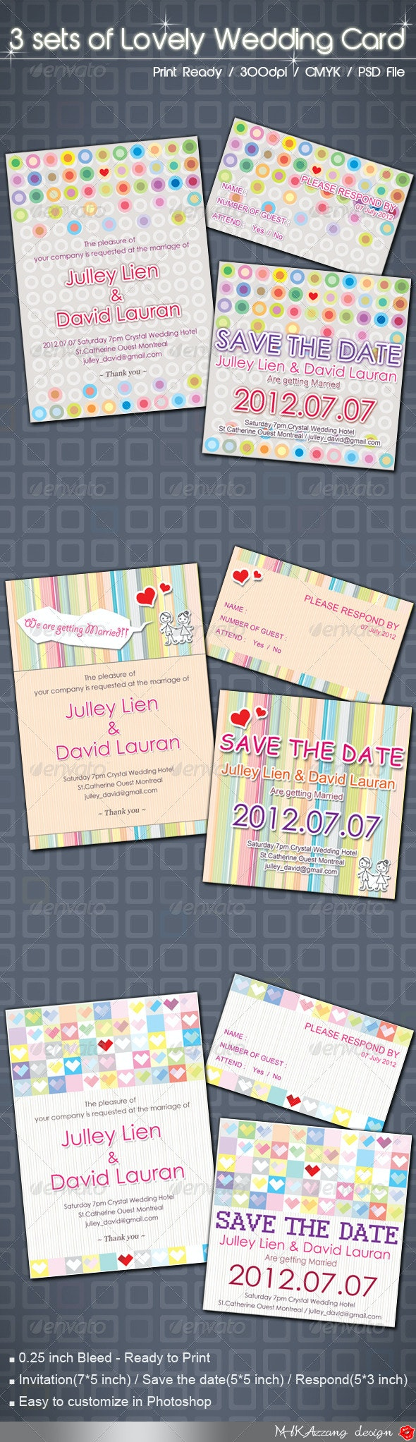 3 Items Lovely Wedding Card - Weddings Cards & Invites
