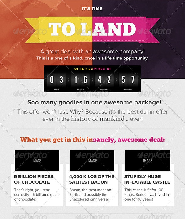 It's Time to Land Countdown Timer Newsletter
