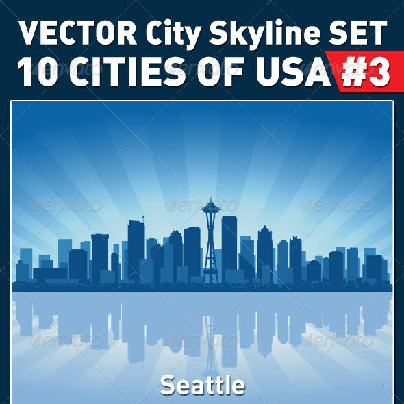 Vector City Skyline Set. USA #3
