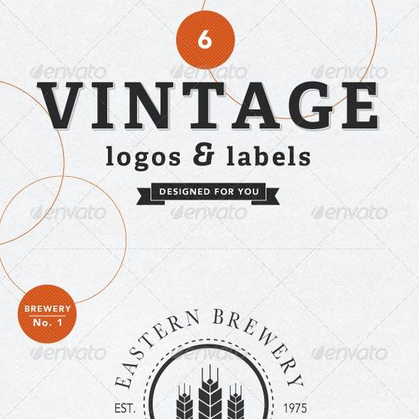 6 Vintage Labels Badges & Logos