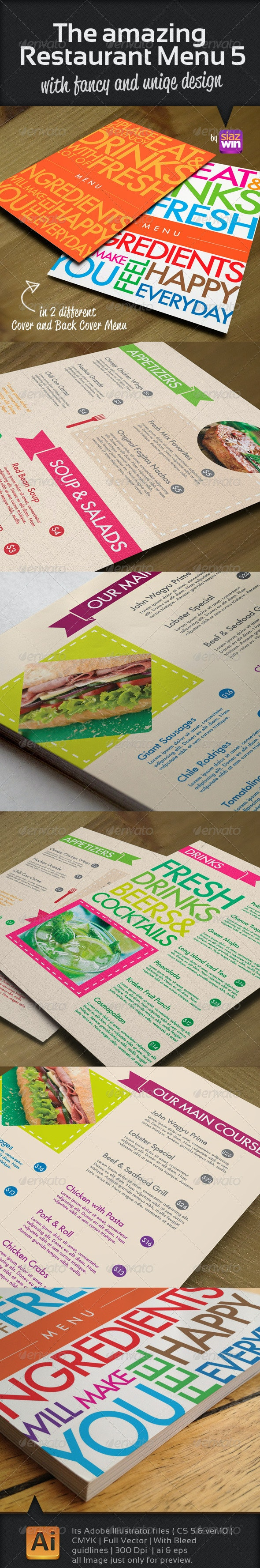 The Restaurant Menu 5 - Food Menus Print Templates