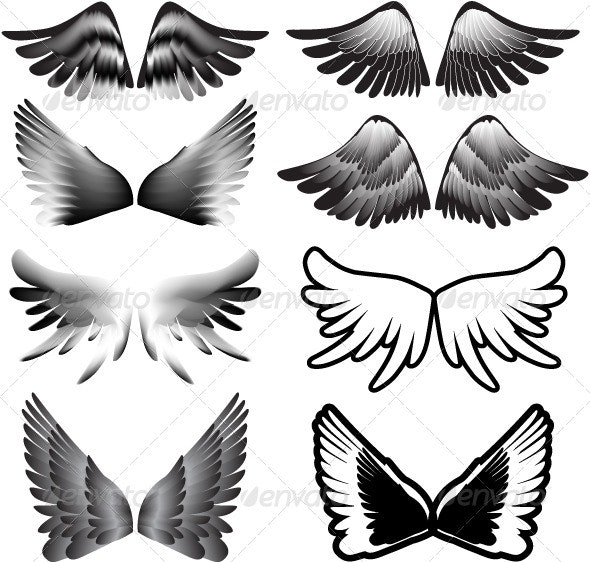 Wings Tattoo Silhouette Vector - Animals Characters