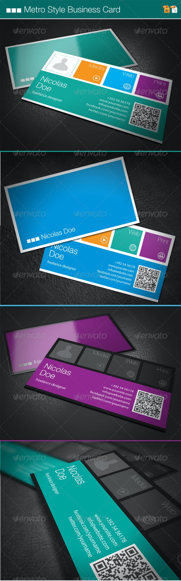 Metro Style Business Card - Corporate Business Cards