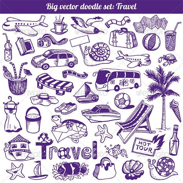 Travel Doodles Collection Vector - Travel Conceptual