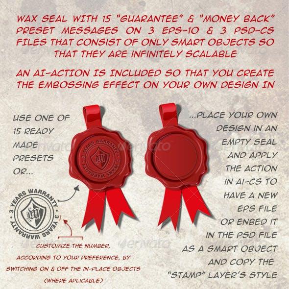 15 Wax Seal - Warranty, Guaranty, Money Back