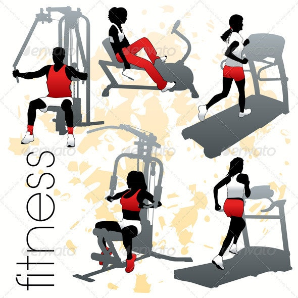 Fitness Silhouettes Set - Sports/Activity Conceptual