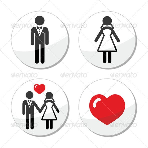 Wedding Icons Married Couple
