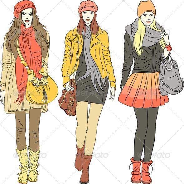 Vector Fashion Stylish Girls in Warm Clothes