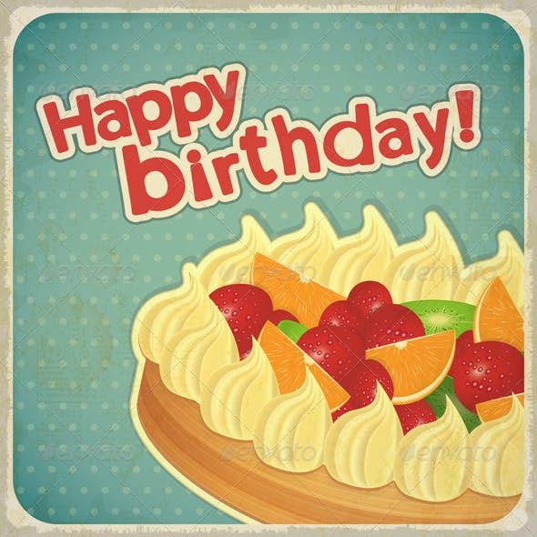 Vintage Birthday Card with Fruit Cake