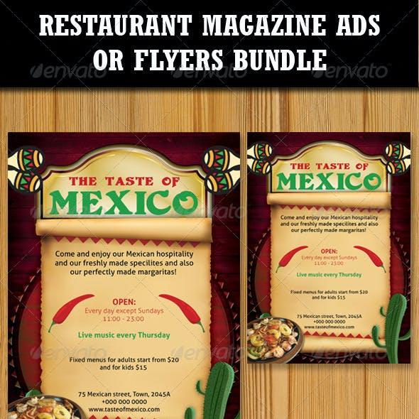 Restaurant Magazine Ads-Flyers Bundle 2