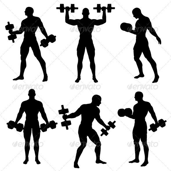 Man Exercise with Weights Silhouette Pack - Sports/Activity Conceptual
