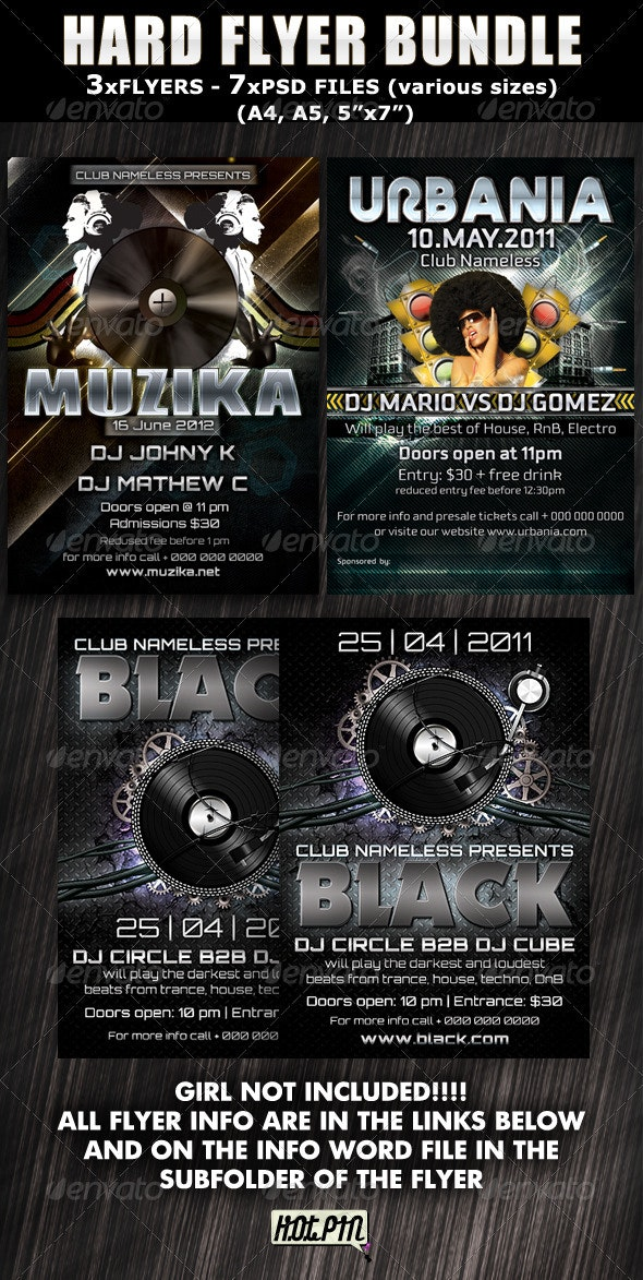 Hard Party-Club Flyer bundle - Clubs & Parties Events