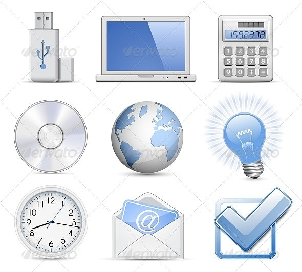 Vector Illustration of Universal Web Icon Set - Computers Technology