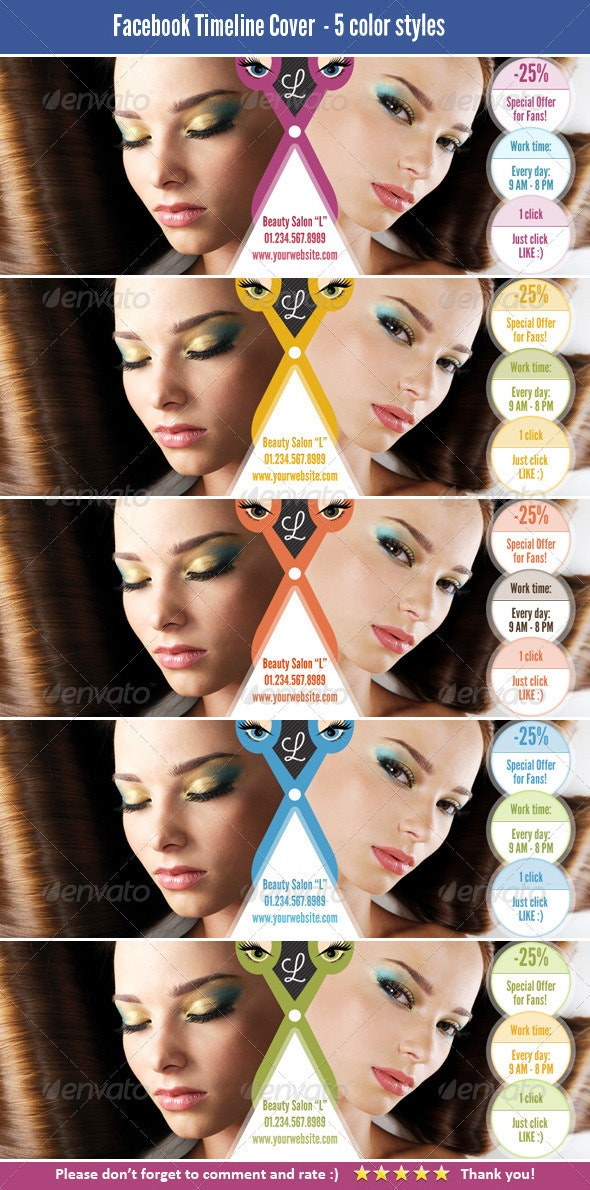 FB Cover Template for Beauty Salon - Facebook Timeline Covers Social Media