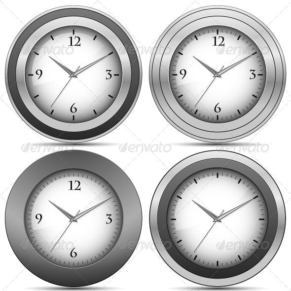 Collection of Chrome Office Clocks