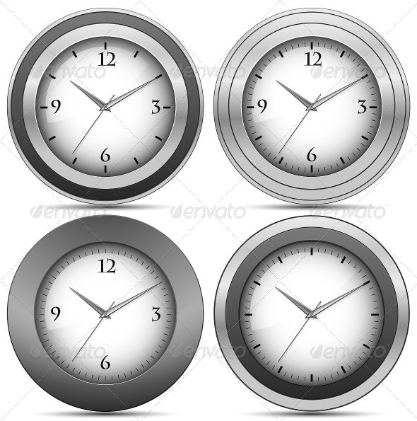 Collection of Chrome Office Clocks - Man-made Objects Objects