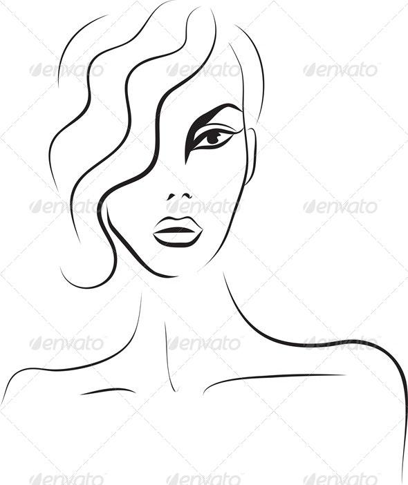 Beautiful Woman Face Fashion Sketch By Sveta Aho Graphicriver