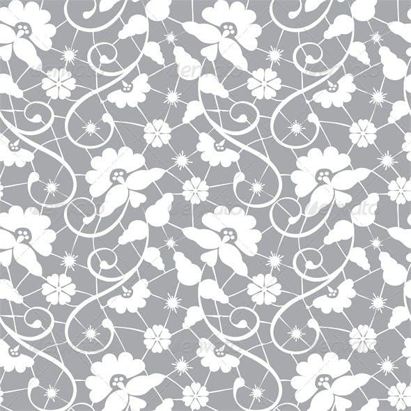 Seamless Lace Pattern on Grey Background
