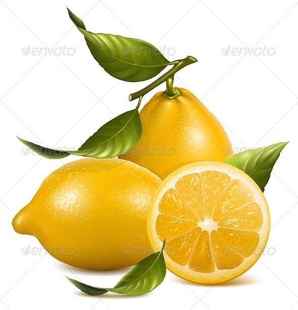 Fresh Lemons with Leaves. - Food Objects